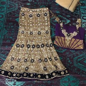 Purple and light gold lengha